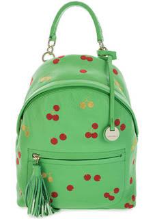 Зеленый кожаный рюкзак с декоративной вышивкой Coccinelle