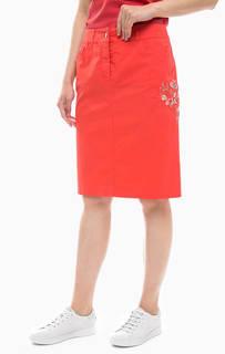 Хлопковая юбка средней длины с цветочной вышивкой Gerry Weber