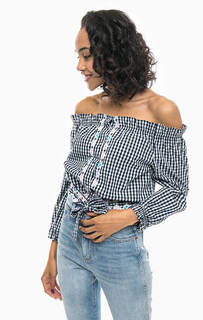 Клетчатая рубашка с открытыми плечами Pepe Jeans