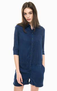Синий джинсовый комбинезон с шортами Pepe Jeans