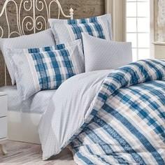 Комплект постельного белья Hobby home collection Евро, поплин, Debora синий (1501001772)