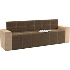 Кухонный диван АртМебель Династия микровельвет коричнево-бежевый