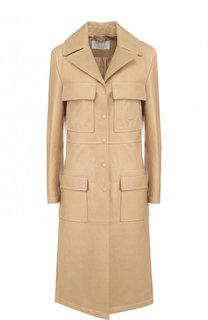 Однотонное кожаное пальто с накладными карманами Chloé
