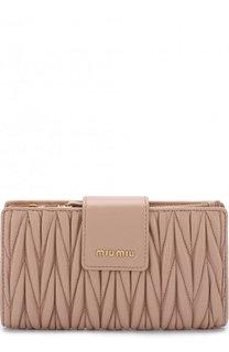 Кожаный кошелек с логотипом бренда Miu Miu