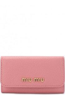 Кожаная ключница с логотипом бренда Miu Miu
