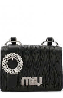 Кожаная сумка с брошью Miu Miu