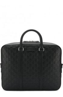 Кожаный портфель на молнии с тиснением Signature Gucci