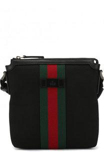 Текстильная сумка-планшет с отделкой Web Gucci