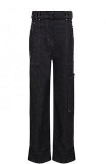 Расклешенные джинсы с контрастной прострочкой и поясом Tom Ford