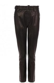 Однотонные кожаные брюки прямого кроя Tom Ford