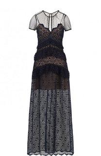 Приталенное кружевное платье-макси self-portrait