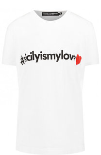 Хлопковая футболка с контрастной надписью Dolce & Gabbana