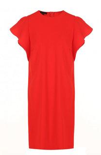 Однотонное мини-платье свободного кроя с оборками Escada