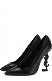 Кожаные туфли Opyum на фигурном каблуке Saint Laurent