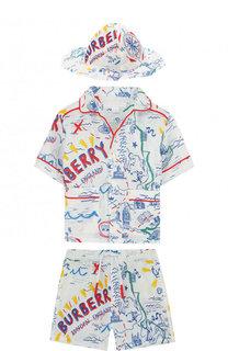 Льняной комплект из рубашка и шорт с панамой Burberry