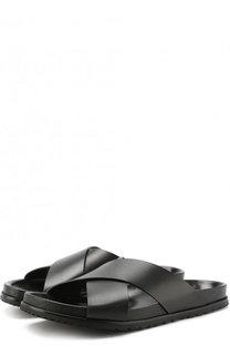 Кожаные шлепанцы с широкими ремешками Saint Laurent