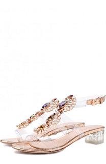 Прозрачные босоножки с отделкой кристаллами Le Silla