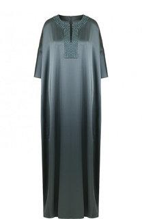 Платье-макси свободного кроя с декорированным вырезом St. John