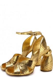 Босоножки из металлизированной кожи на фигурном каблуке Dries Van Noten