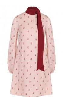 Шелковое мини-платье с принтом и воротником аскот Valentino