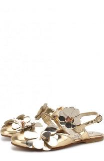 Босоножки из металлизированной кожи с аппликациями и застежками велькро Simonetta