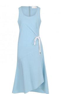 Приталенное хлопковое платье-миди BOSS