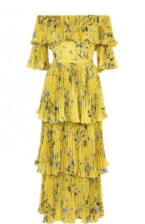 Приталенное плиссированное платье-миди с принтом self-portrait