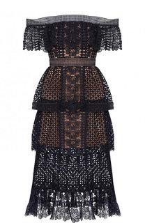 Приталенное кружевное платье-миди сокрытыми плечами self-portrait