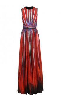 Приталенное платье-макси с принтом Elie Saab