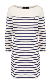 Хлопковое мини-платье в контрастную полоску Polo Ralph Lauren