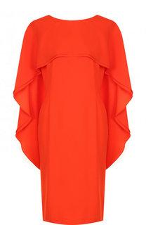 Приталенное платье-миди с оборками Escada
