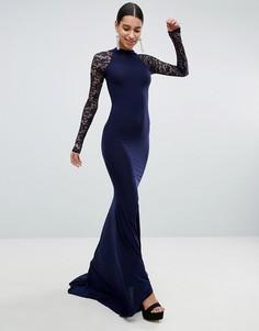 Платье макси с кружевом и открытой спиной Club L - Темно-синий