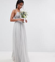 Платье макси с пайетками на лифе Maya Petite - Серый