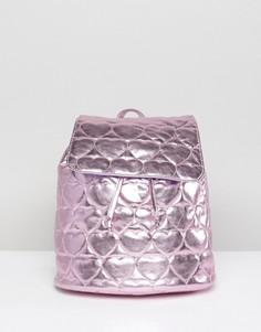 Розовый рюкзак металлик с о стегаными сердечками Lazy Oaf - Розовый
