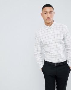 Строгая узкая рубашка в клетку Selected Homme - Белый