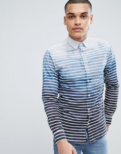 Рубашка узкого кроя с принтом Selected Homme - Темно-синий