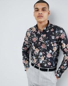 Строгая рубашка узкого кроя с принтом Selected Homme - Черный