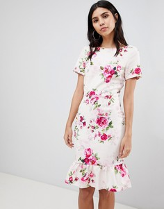 Облегающее платье с цветочным принтом и оборкой Paper Dolls - Мульти
