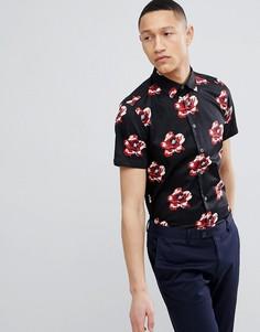 Узкая рубашка с цветочным принтом и короткими рукавами Ted Baker - Темно-синий