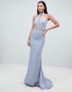 Платье макси с американской проймой и фигурной отделкой Forever Unique - Синий