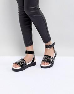 Кожаные сандалии с логотипом и пряжками Emporio Armani - Черный