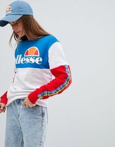 Oversize-свитшот колор блок с логотипом Ellesse - Белый