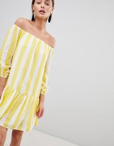 Свободное платье в полоску с открытыми плечами Parisian - Желтый