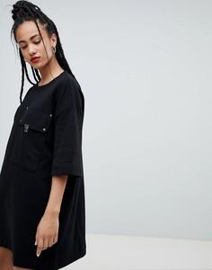 Платье-футболка с большим карманом Love Moschino - Черный