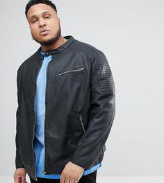 Байкерская куртка из искусственной кожи Replika Plus - Черный