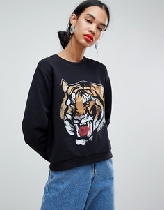 Свитшот с принтом тигра ASOS DESIGN - Черный