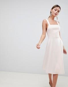Платье для выпускного с квадратным вырезом ASOS DESIGN - Розовый