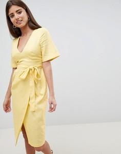 Платье-футляр миди с рукавами‑кимоно ASOS DESIGN - Желтый