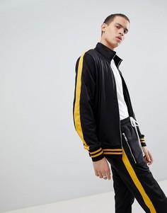 Черная спортивная куртка с желтой полосой по бокам Criminal Damage - Черный
