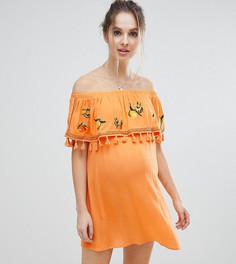 Пляжное платье-бандо с вышитыми фруктами ASOS Maternity - Оранжевый